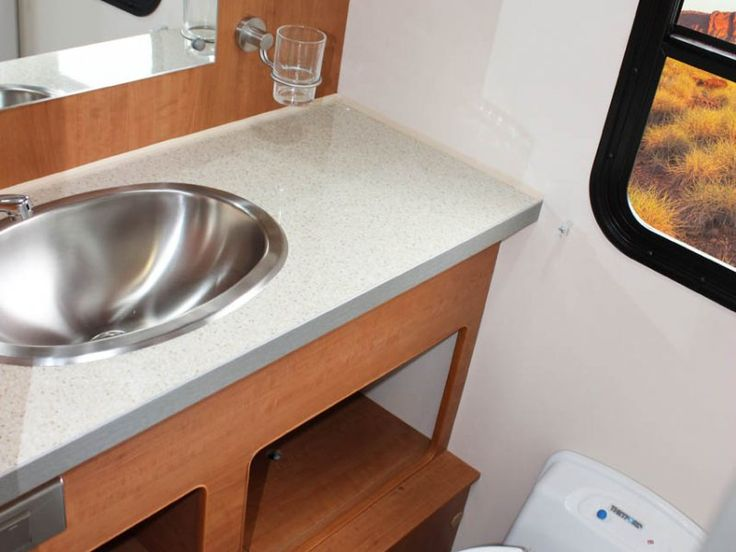 This is the well equipped bathroom of the Avida Ceduna C7184 motorhome. See the features and specifications on our website.
