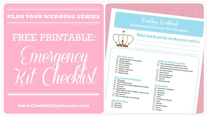 OMG! Don't make the mistake of being caught on your wedding day with out this Wedding Day Emergency Kit! { It's a FREE printable}
