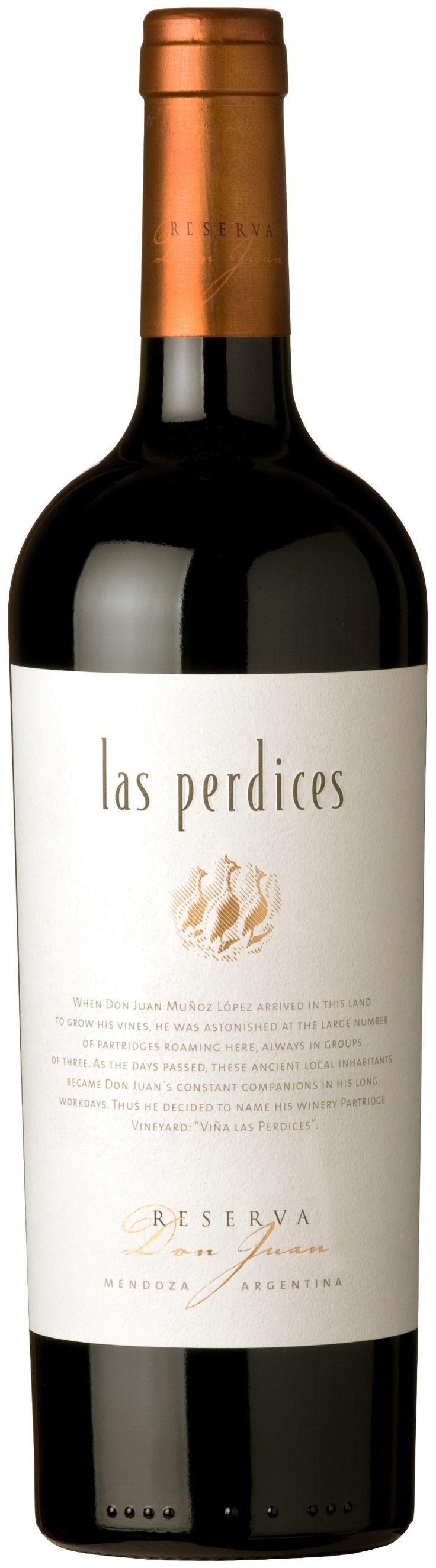 """""""Reserva Don Juan"""" Malbec 70% / Syrah 11% / Bonarda 10% / Merlot 9% 2010 - Bodega Viña Las Perdices, Luján de Cuyo, Mendoza---------------------- Terroir: Agrelo-------------------------- Crianza: 18 meses en barricas nuevas de roble francés (50%) y americano (50%)"""