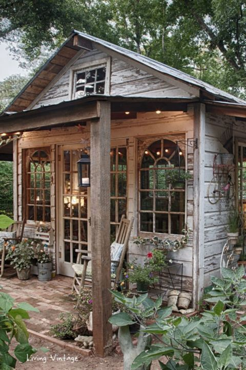 Vintage-Inspired Shed This charming East Texas shed was made almost entirely of reclaimed materials, including its brick foundation, shiplap and tin roof, and siding with white chipped paint.