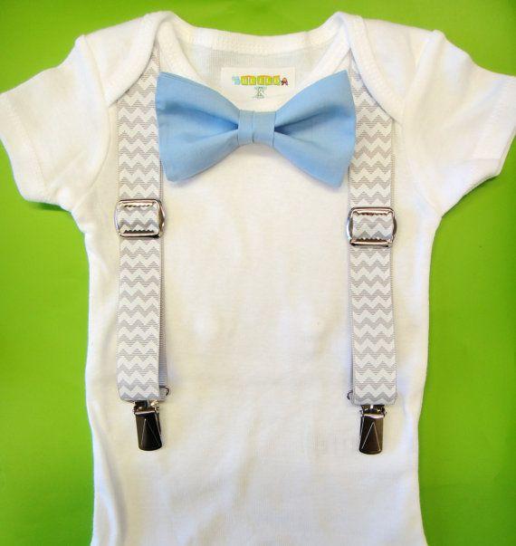 Baby Boy Clothing Mint Bow Tie Grey Chevron by NoahsBoytiques