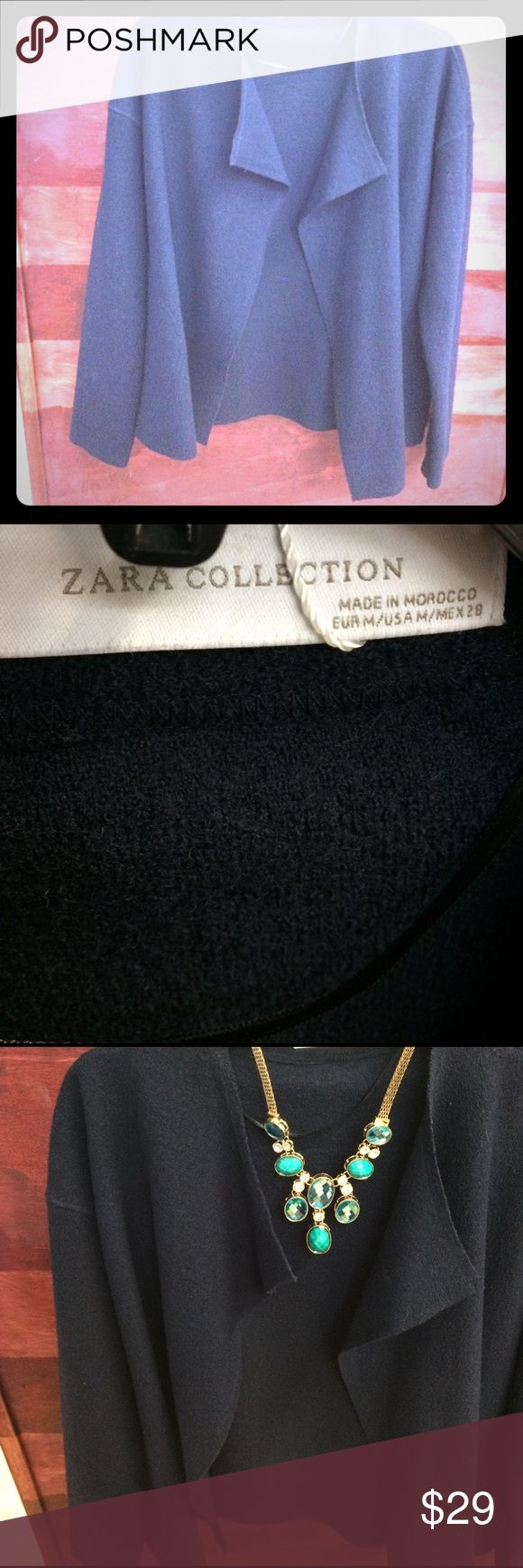 Navy blue Zara cardigan 3 seasons navy blue cardigan. Great combo with bright colors and a skinny jeans or boyfriend wkend jeans. NWOT Zara Jackets & Coats Blazers