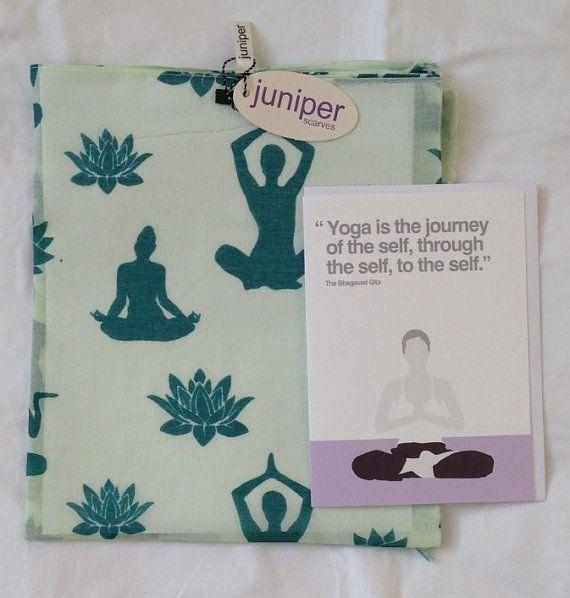 Teal yoga scarf  yoga card  yoga print scarf  in 100%