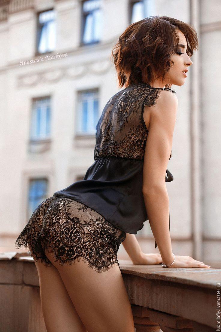"""Купить """"Время желаний"""" - черная  пижама из кружева шантильи и шелка - черный, цветочный, женская пижама"""