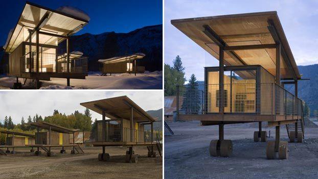 4 case prefabbricate su ruote in legno