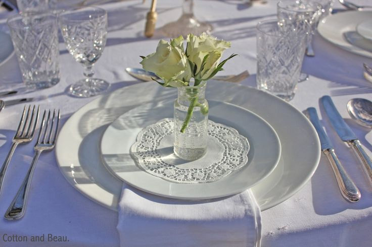 Vintage white rose wedding table. Cotton and Beau.
