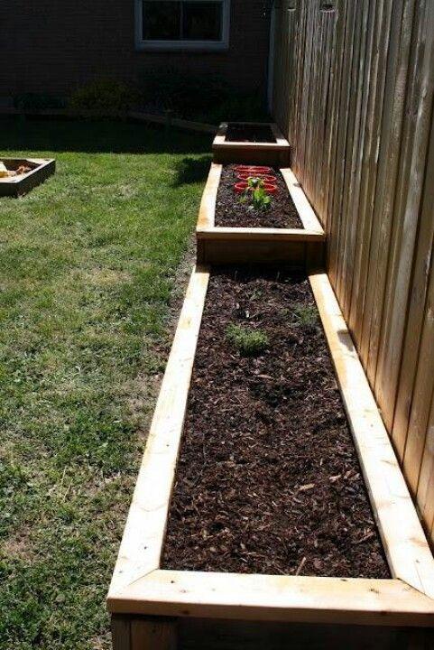 Raised flower beds, good idea for our garden on a slant