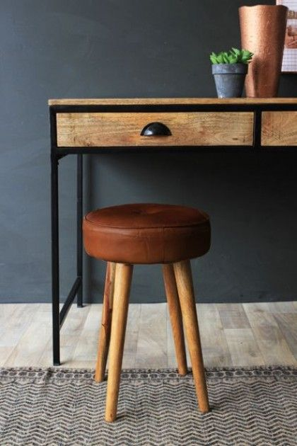 Tapas Bar Leather Stool - Short - Stools & Bar Stools - Furniture