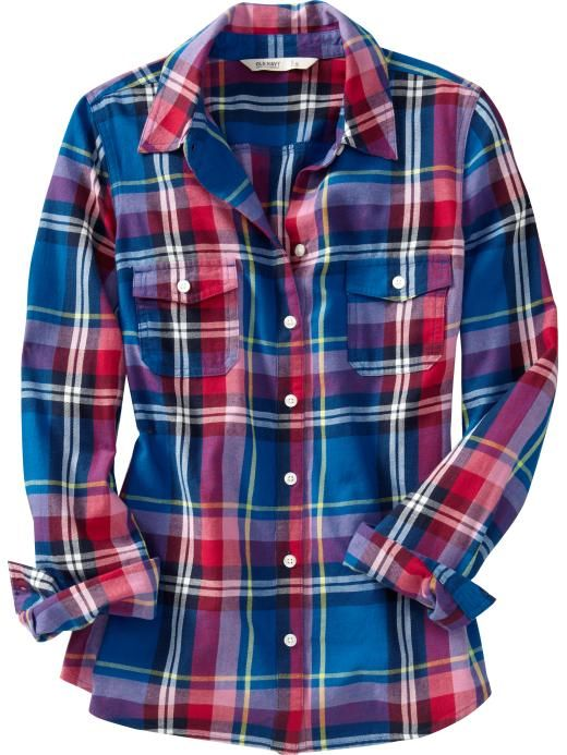 Old navy women 39 s plaid flannel shirts fashion Womens red tartan plaid shirt