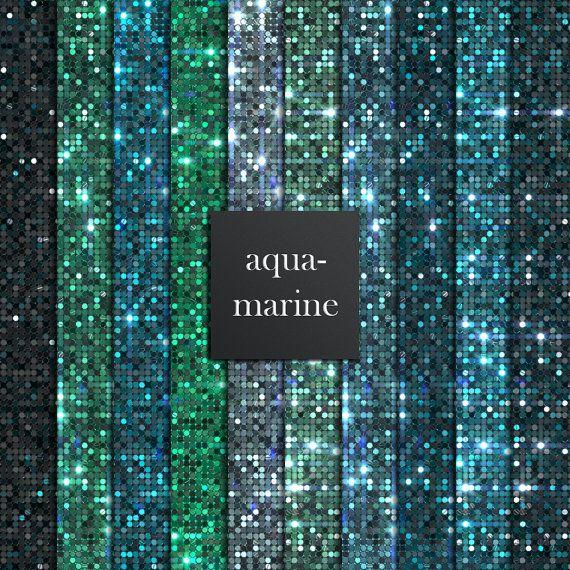 10 aquamarine sequins digital papers aqua marine papers