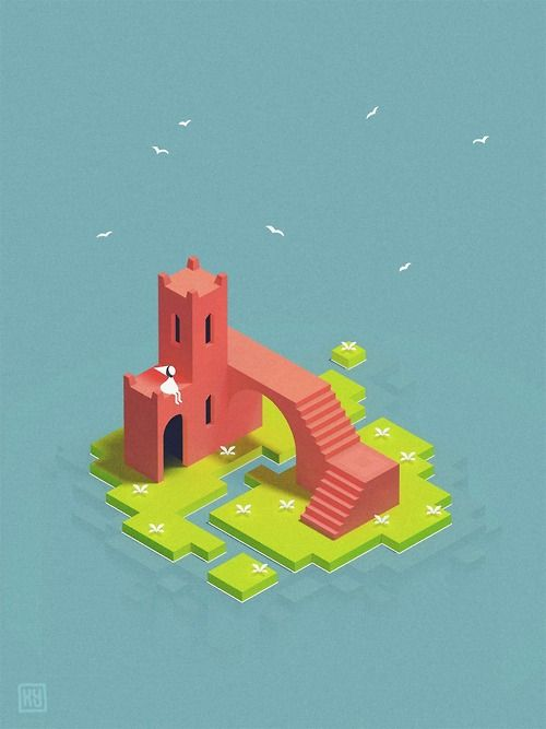 kyleyoungblom:  I finished Monument Valley yesterday. It meant so much to me that I just had to fan art a bit. Here's Ida chilling out on a little island in the sun.