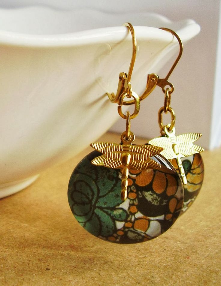 glass and raw brass earrings by schalleszter