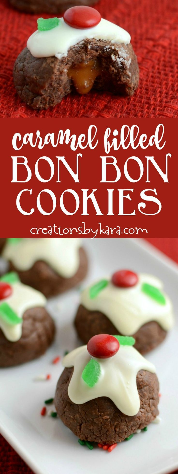 These pretty Bon Bon Cookies are perfect for Christmas, but you can omit the holly berries and serve them any time of year. They are decadent and delicious! via creationsbykara.com