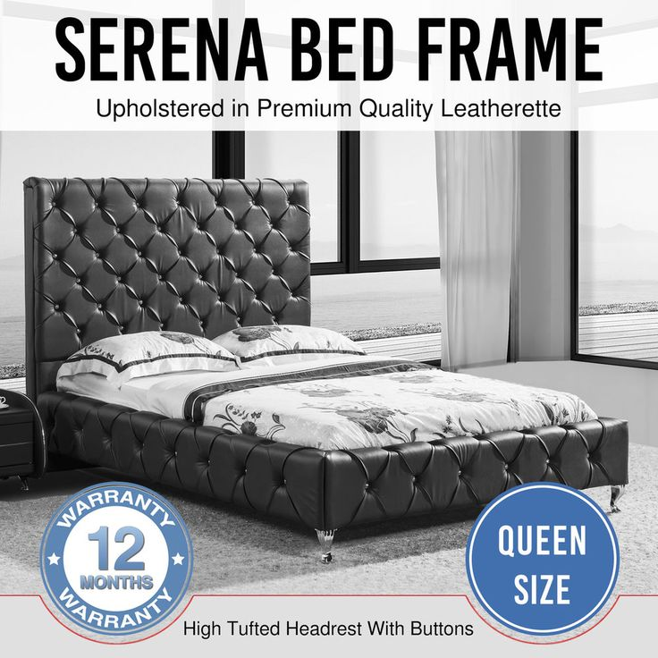 Bed Frame Faux Leather Black Crystals Bentwood Slat Metal Frame Queen Serena