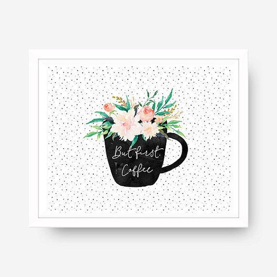 Kitchen Wall Art But First Coffee Wall Art by blueelephantprints