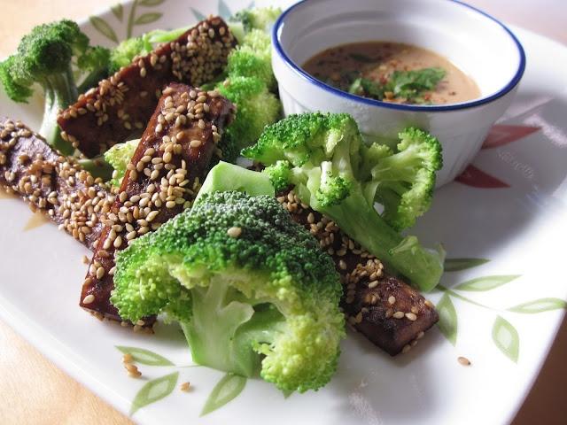 ... ; Sesame-toasted Tofu with Satay Sauce and Broccoli. #osteoporosis