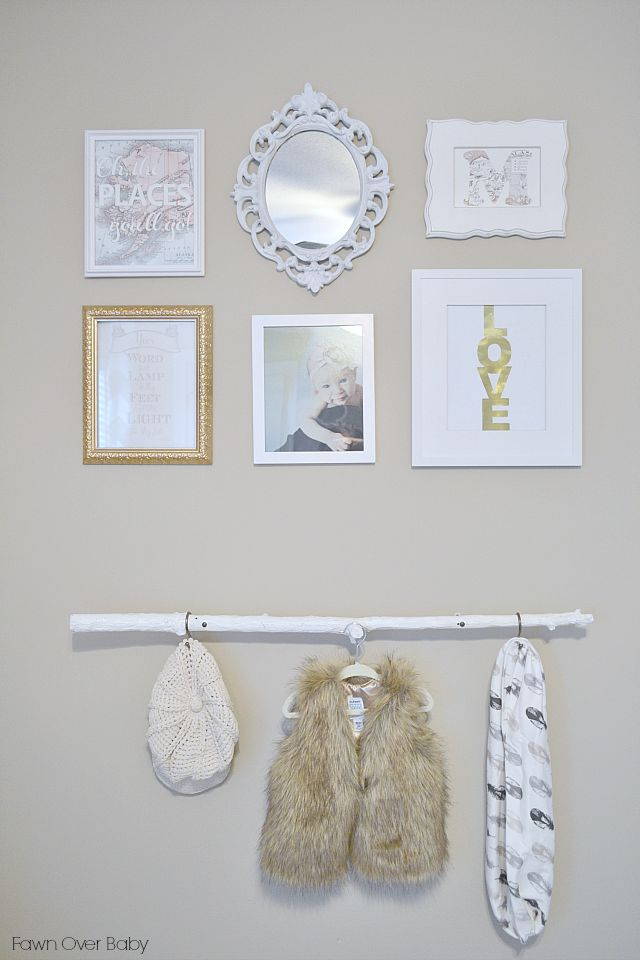 Gallery wall with gold accents - and we love the fab baby clothes displayed! #nursery #gallerywallDecor Babydecor, Gallerywall Babyclothes, Gallery Walls, Projects Nurseries, Babydecor Nurseries, Baby Clothing, Nurseries Ideas, Baby Nurseries, Nurseries Gallerywall