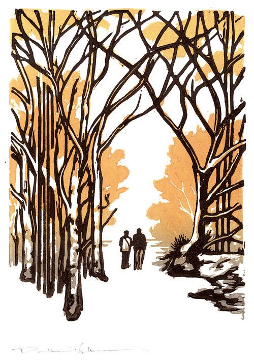 Winter Stroll Block Print Note Card by kgcrafts on Etsy, $4.75