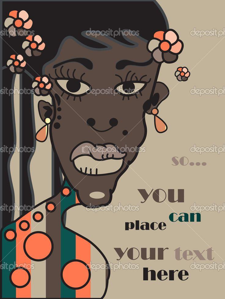 Скачать - Вектор Африканский молодой женщины, семейный портрет фон, гранж r — стоковая иллюстрация #6735851