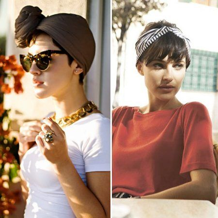 turbante-cabello-corto Bandana Hairstyles Short, Short Hair Outfits, Retro Hairstyles, Pixie Hairstyles, Headband Hairstyles, Fall Outfits, Pixie Hair Accessories, Grown Out Pixie, Hair Addiction