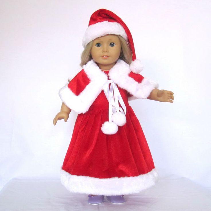 """Кукла одежда подходит 18 """" америка девочка кукла, Наряды, Санта шляпа + платье + накидка, 3шт, Девочка подарок, День рождения подарок, E03купить в магазине Ailsa w's storeнаAliExpress"""