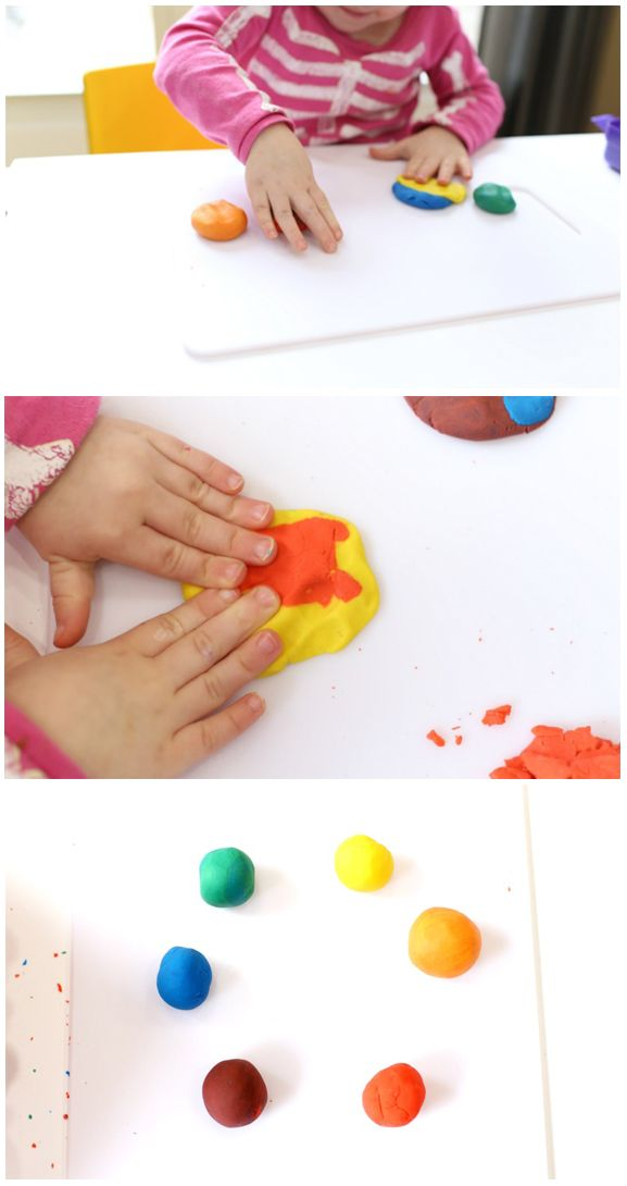 Distract your baby and toddler for a while by giving them this Color Mixing Play Dough activity to complete. Not only are the colors mesmerizing, but the dough is cool and squishy and fun to mix together. Don't be surprised if you want to jump in and play alongside your kiddos—it's strangely therapeutic.
