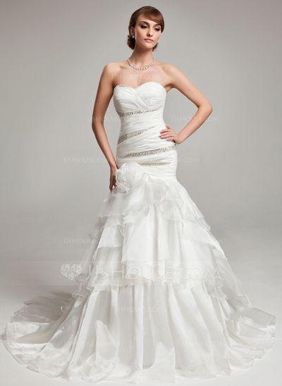 Wedding Dresses - $208.69 - Mermaid Sweetheart Court Train Organza Wedding Dress With Ruffle Beadwork (002017563) http://jjshouse.com/Mermaid-Sweetheart-Court-Train-Organza-Wedding-Dress-With-Ruffle-Beadwork-002017563-g17563