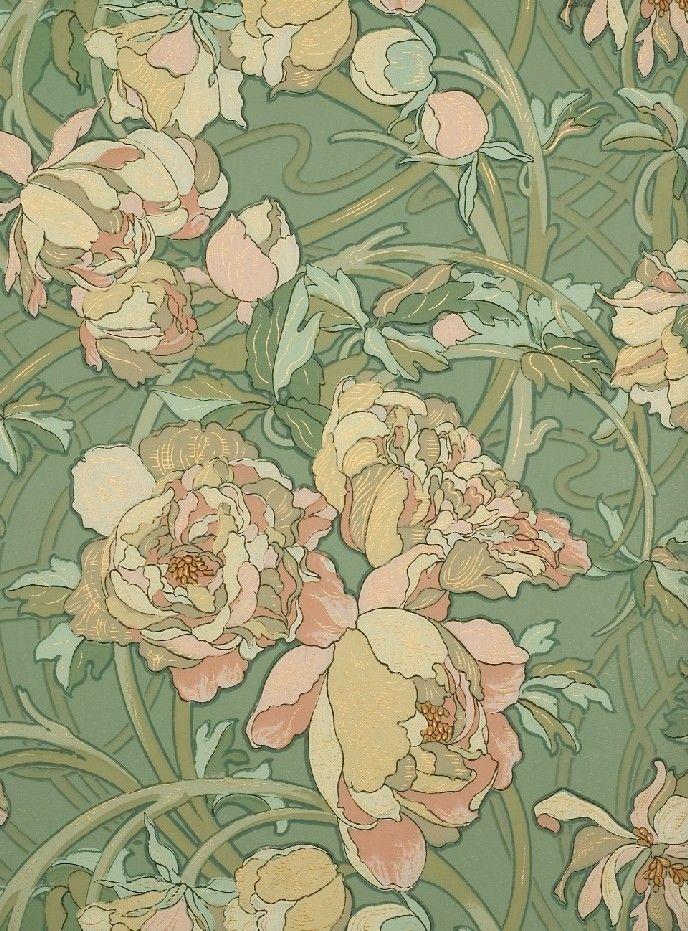 illustration tchèque : Alphonse Mucha, 1898, motif papier mural, manufacture Gillou & fils, fleurs, vert pâle, 1890s                                                                                                                                                                                 Plus