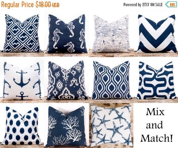 """SALE ENDS SOON Navy Throw Pillows, Ikat Pillow Covers, Polka Dots, Nautical, Cushion Covers, Mix and Match, 18 x 18"""""""
