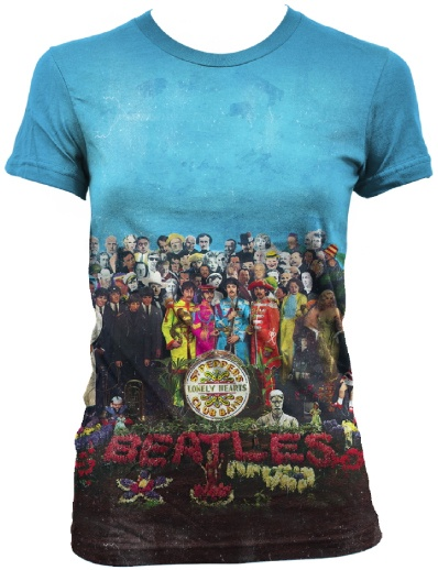 This women's Beatles tshirt features the full album cover artwork from the band's immensely successful 1967 release, Sgt. Pepper's Lonely Hearts Club Band. This album was the first from the Fab 4 to introduce their psychedelic sound. Our tee is made from 100% cotton.