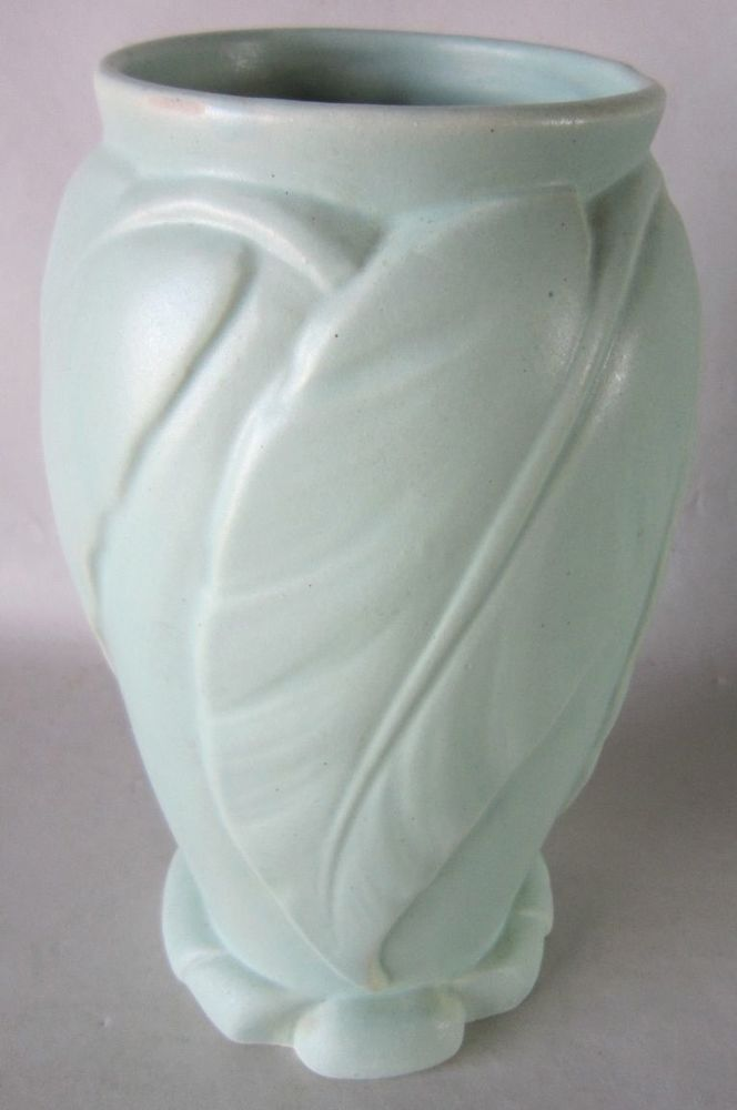 "Art Deco Era McCOY Art Pottery Matte Aqua LEAVES VASE 7 3/4"" Vintage"