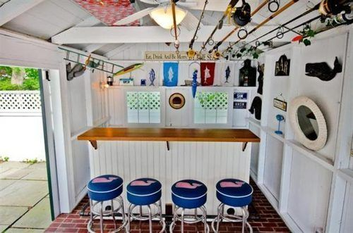 Storage shed w/bar. See fishing pole storage in the rafters -  Big Reveal: How Much for an Edgartown Village 3-Bedroom? - Pricespotter - Curbed Cape Cod