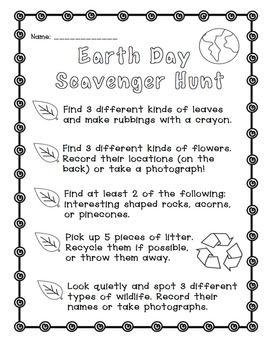 Earth Day: Scavenger Hunt Freebie! Fun activity for the week of Earth Day! Get your class outside and exploring nature.