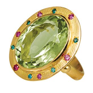 Brilliana 18ct gold cocktail ring with pale green quartz and 12 pink & blue diamonds by Sophie Harley London.
