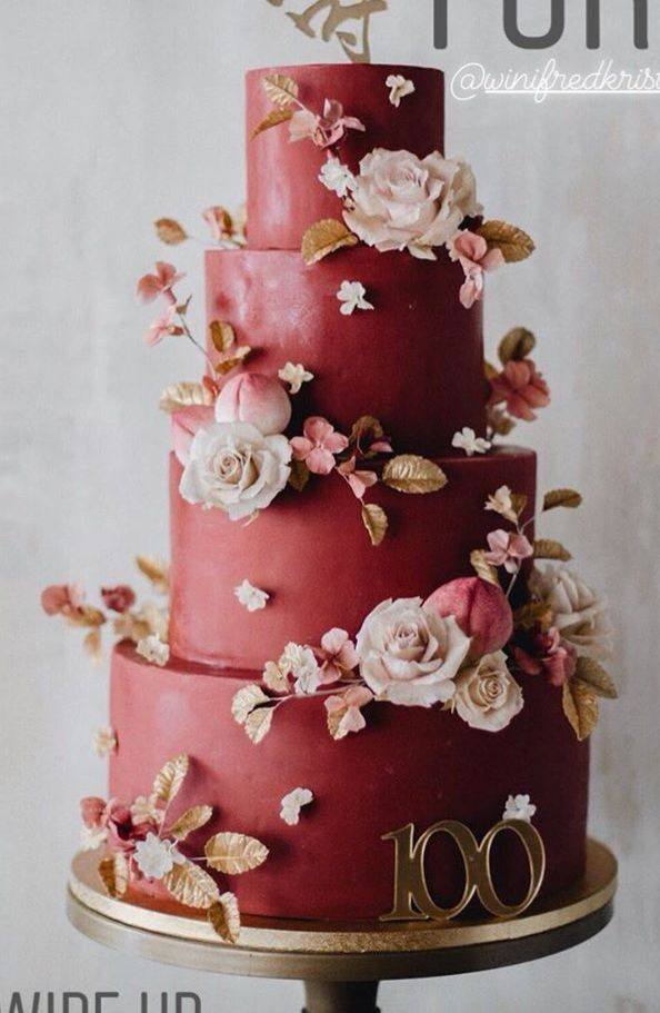 I'm loving this unique cake. I'm the type to have a red floral cake for my wedding. #weddingcakesunique