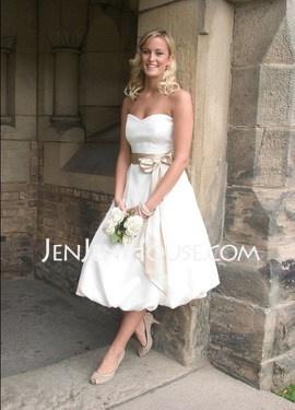 A-Line/Princess Sweetheart Tea-Length Satin Wedding Dresses With Sashes (002001379)