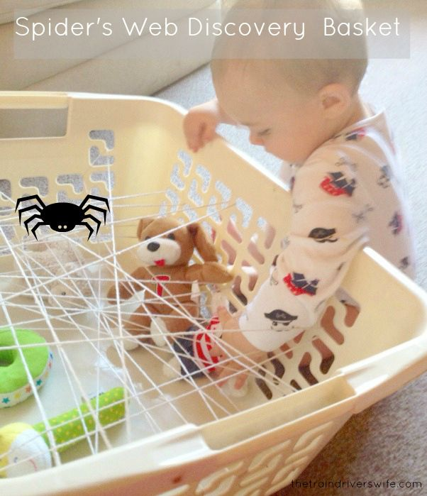 Spider's Web Discovery Basket. A fun and interactive activity for babies and toddlers. Delve into the spider's lair and rescue the toy animals! Fun as a stand alone activity of as a Halloween activity