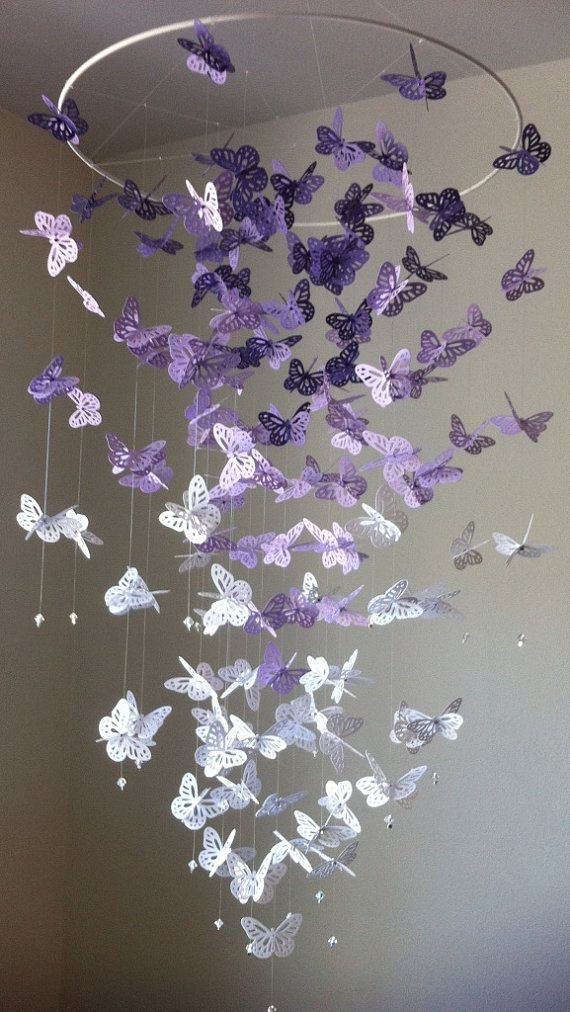 Monarch Butterfly Chandelier Mobile purple by DragonOnTheFly, $55.00