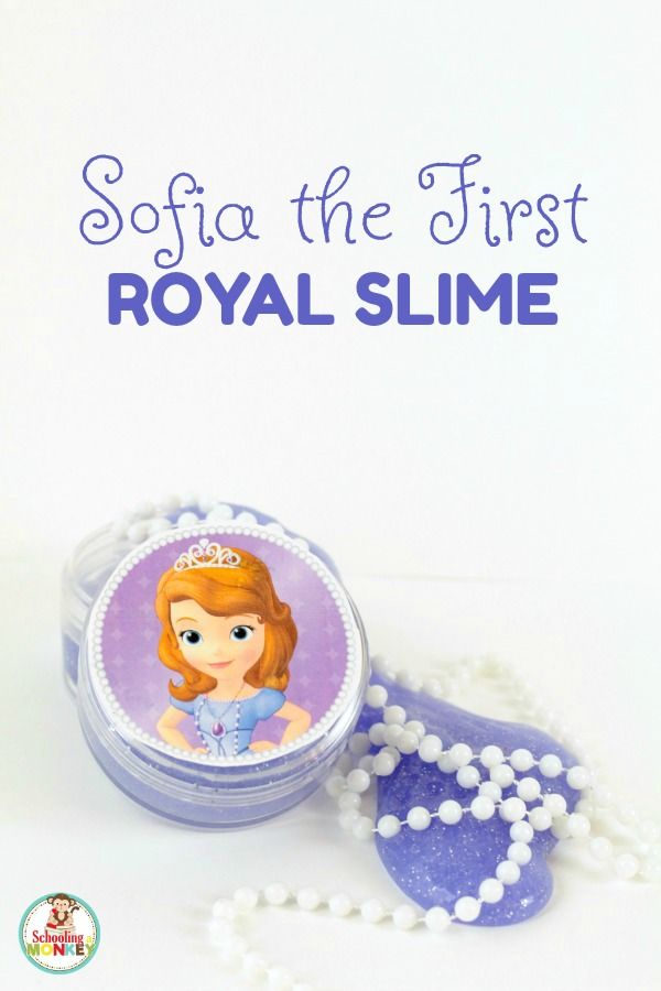 Kids will love this sparkly Sofia the First Slime inspired by the Amulet of Avalor! This slime would make a perfect Sofia the First party favor. | Don't forget to check out your favorite Disney Junior characters on FRiYAY for NEW Episodes on Disney Channel. AD  http://www.schoolingamonkey.com/sofia-the-first-slime/