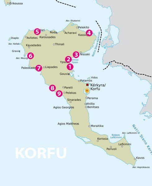 Landkarte die schönsten Strände auf Korfu