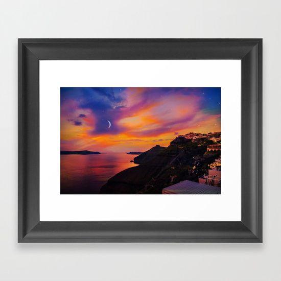 Santorini,Fira,Sunset Framed Art Print