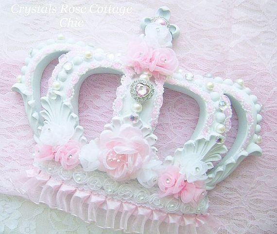 Baby Crown Wall Decor : Shabby chic pink princess crown fleur de lis girls room