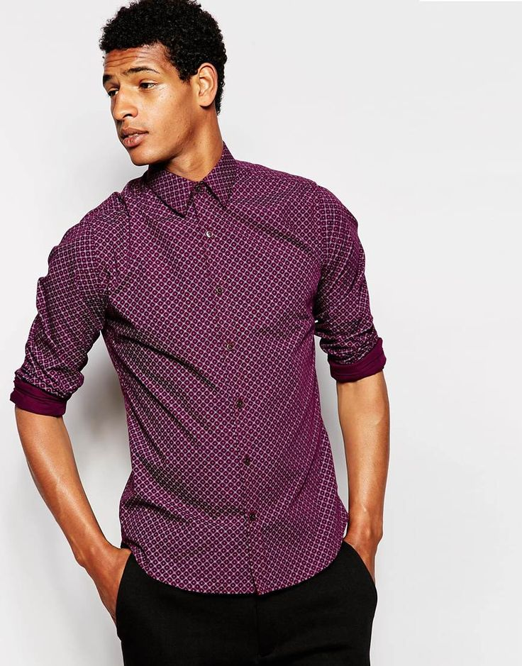 Image 1 ofFrench Connection Slim Fit Small Collar Diamond Print Shirt
