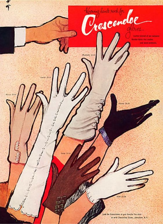 illustration by René Gruau, 1959, Crescendoe Gloves.