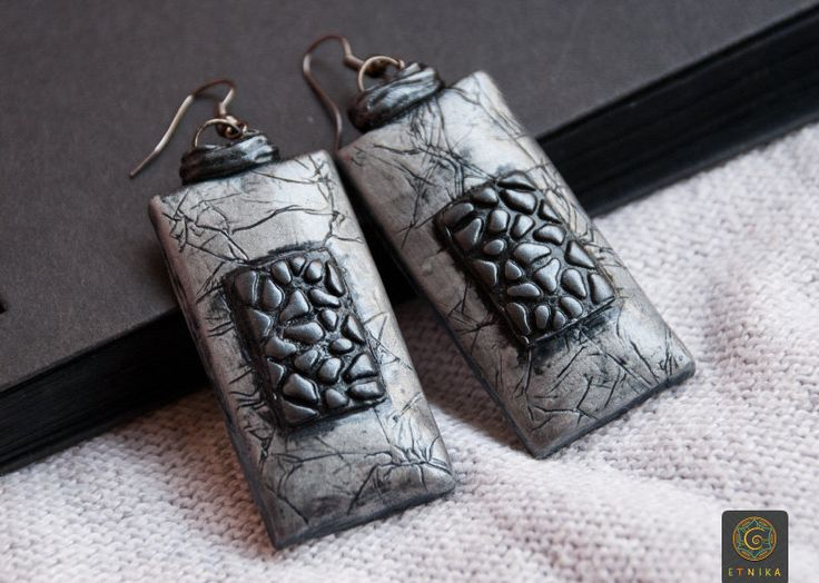 Clay silver earrings Polymer Clay Jewelry Boho Jewelry Boho Earrings Large Earrings Unique Earrings Bohemian Jewelry Bohemian Earrings by Etniika on Etsy
