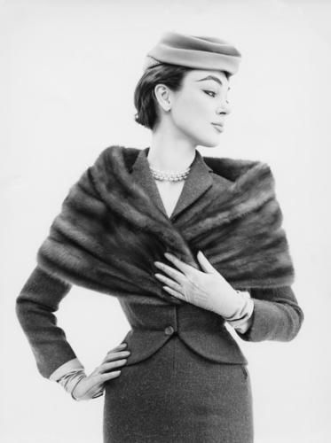 Ivy Nicholson wearing Saga mink stole, 1957