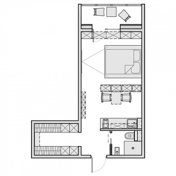 small apartment layouts dependent on built in storage to live well