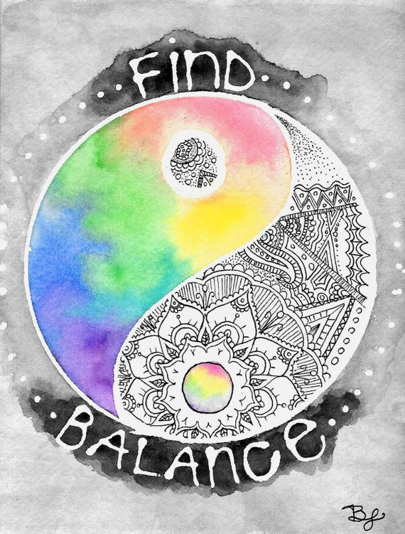 Yin-Yang Art Print Find Balance Zentangle Mandala by BrietronArt
