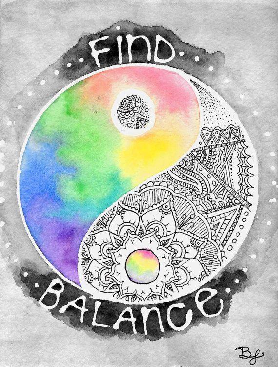 Yin-Yang Art Print Find Balance Zentangle Mandala by BrietronArt