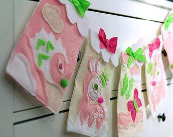 Girl Nursery Bunting Baby Girl Nursery Decor by HouseOfLaylayt